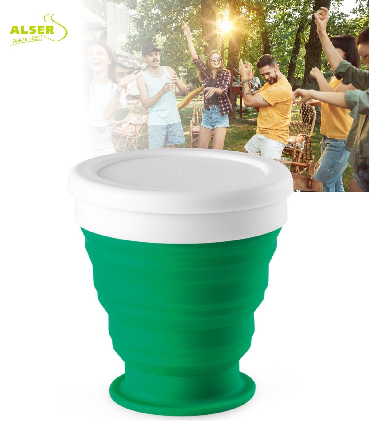 vaso plegable de silicona Verde Oscuro