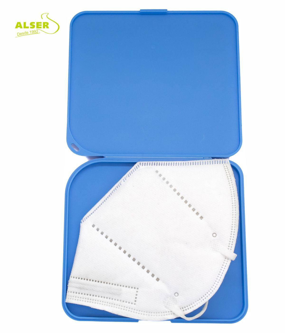 Estuche porta mascarillas azul abierto con mascarilla ffp2