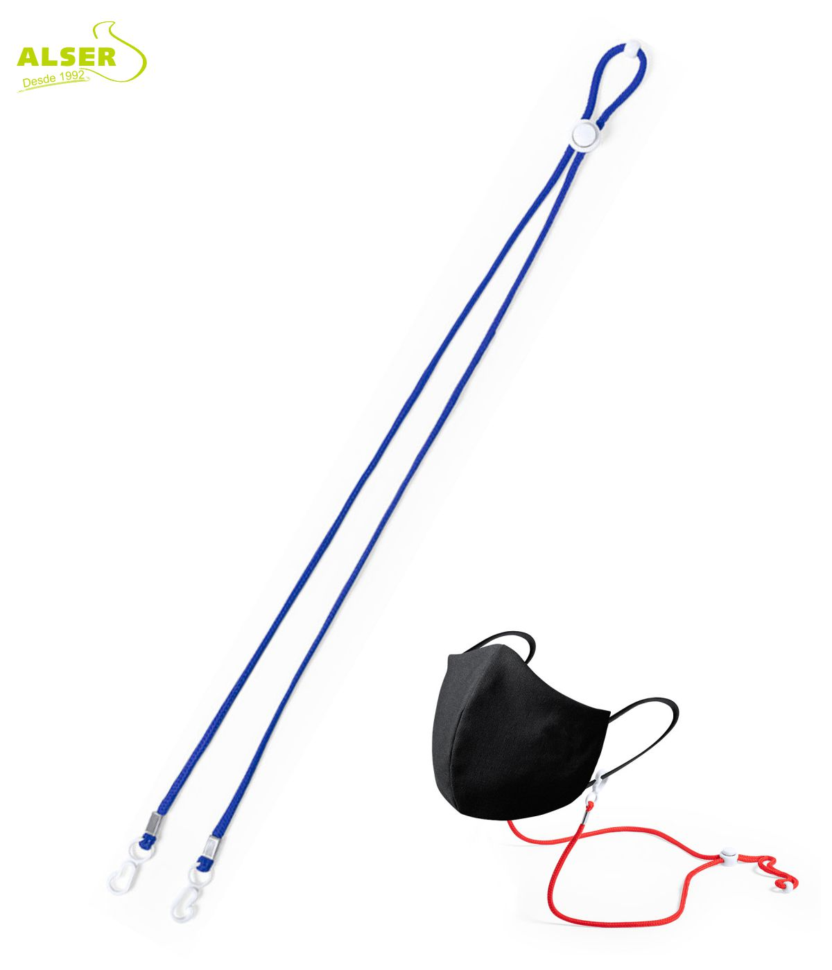 Cordon cuelga mascarillas azul