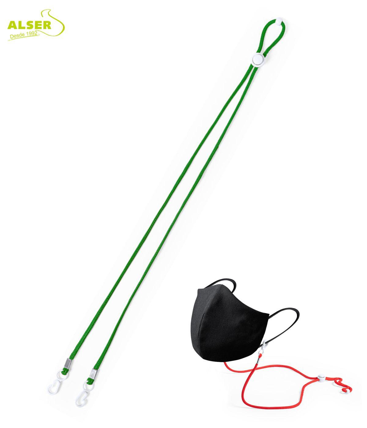 Cordon cuelga mascarillas verde