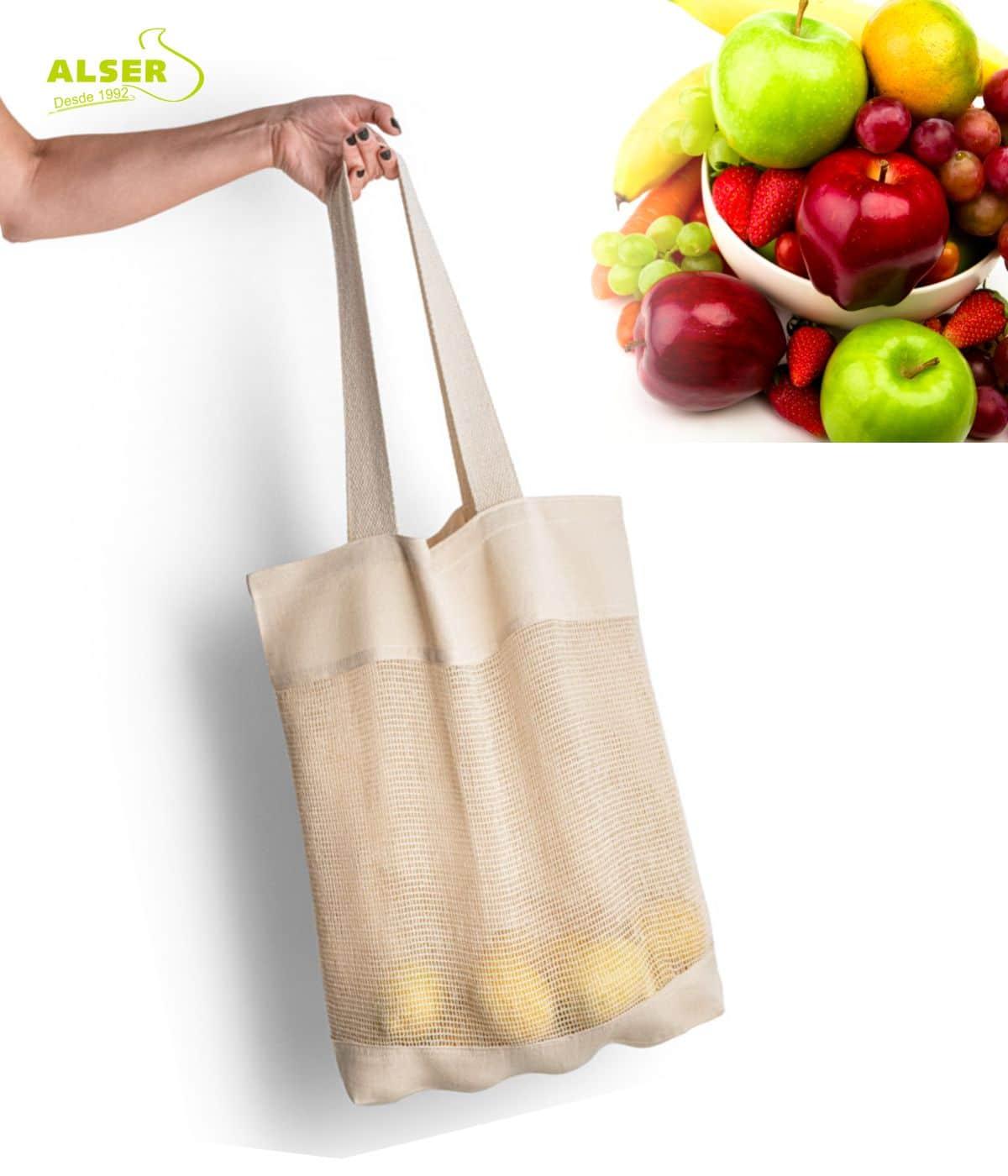 Bolsa de malla de algodon para la compra