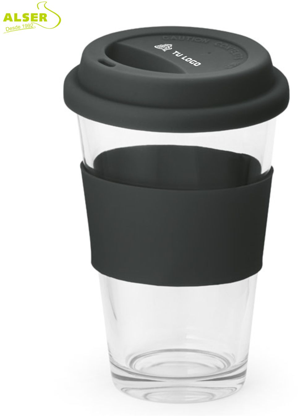 Vaso de vidrio detalles Negro