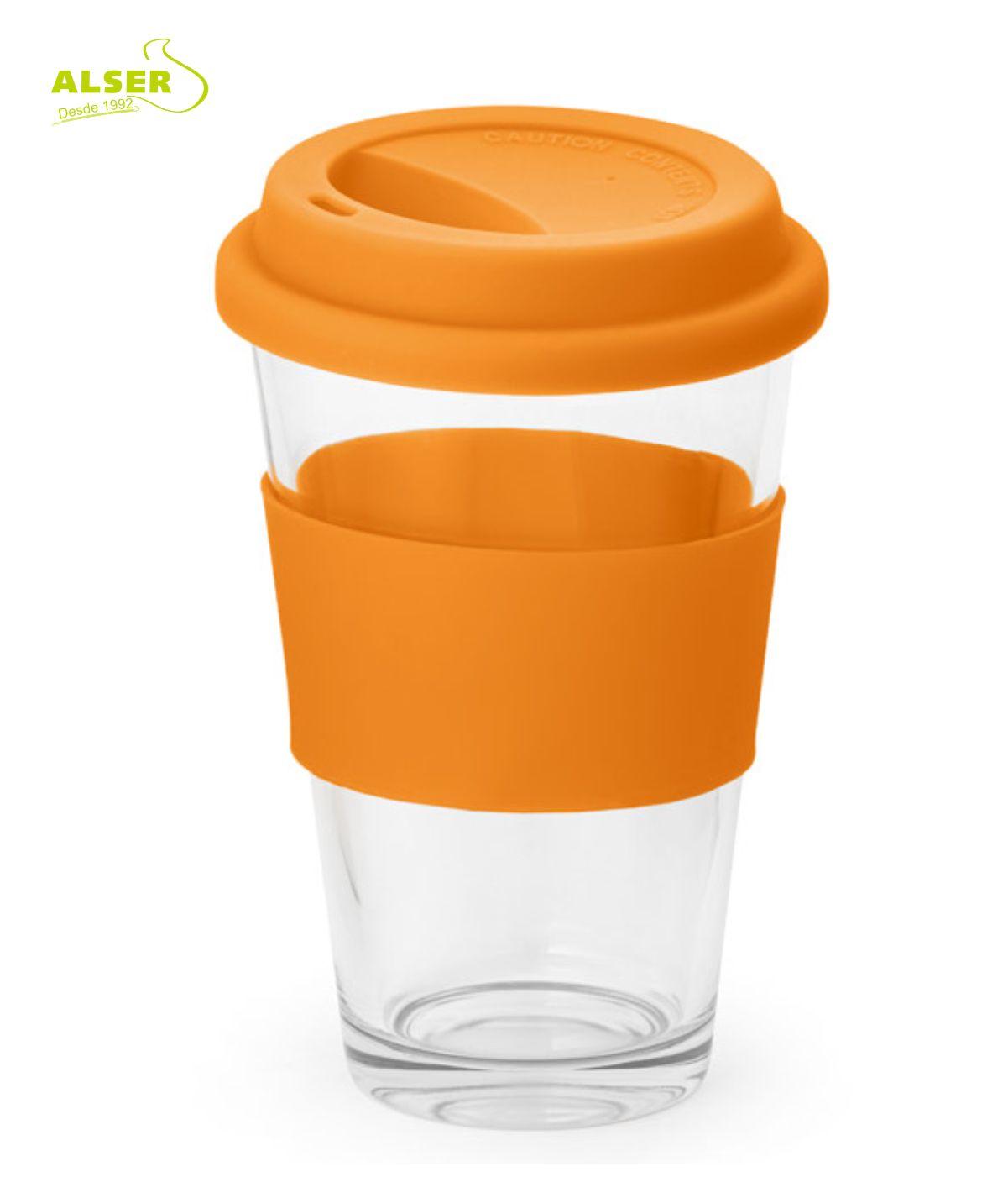 Vaso de vidrio detalles naranja