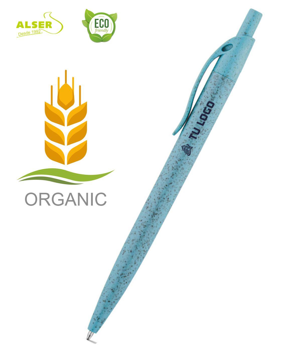 Boligrafo fibra de trigo Azul claro