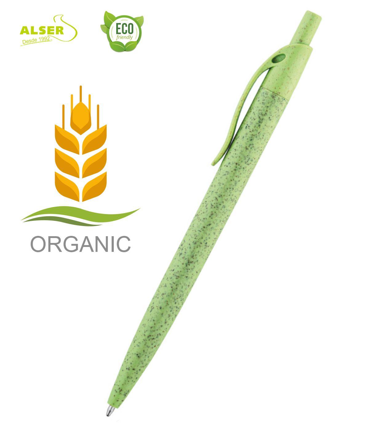 Boligrafo fibra de trigo Verde