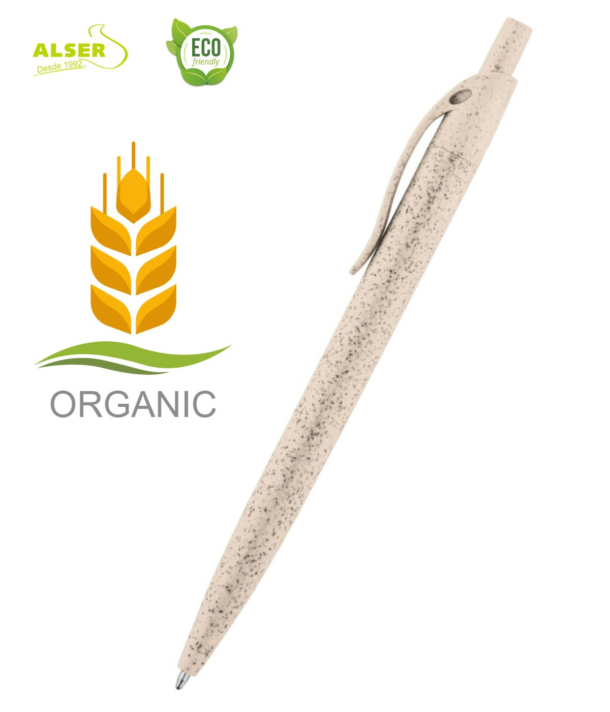 Boligrafo fibra de trigo beige