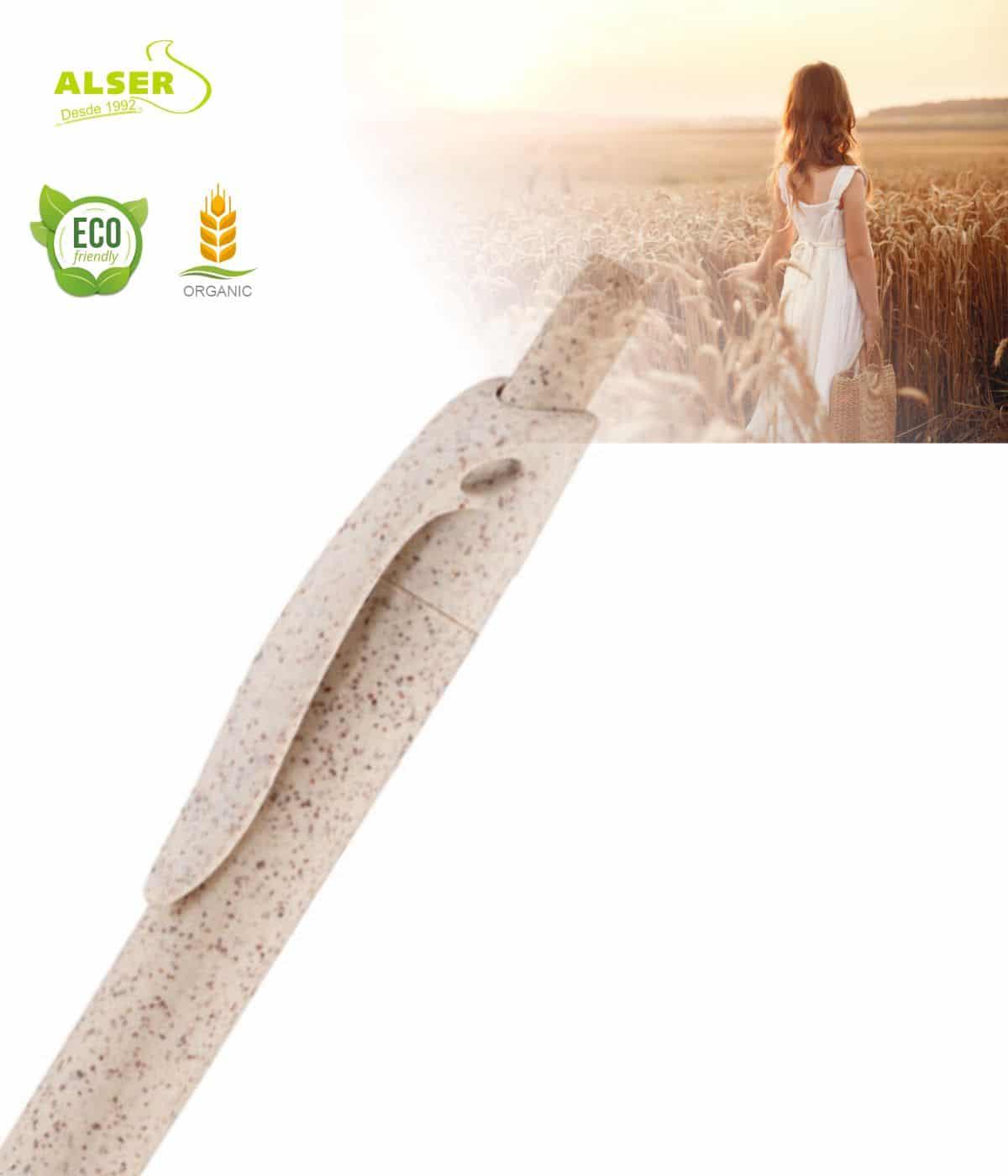 Boligrafo fibra de trigo detalle capuchon
