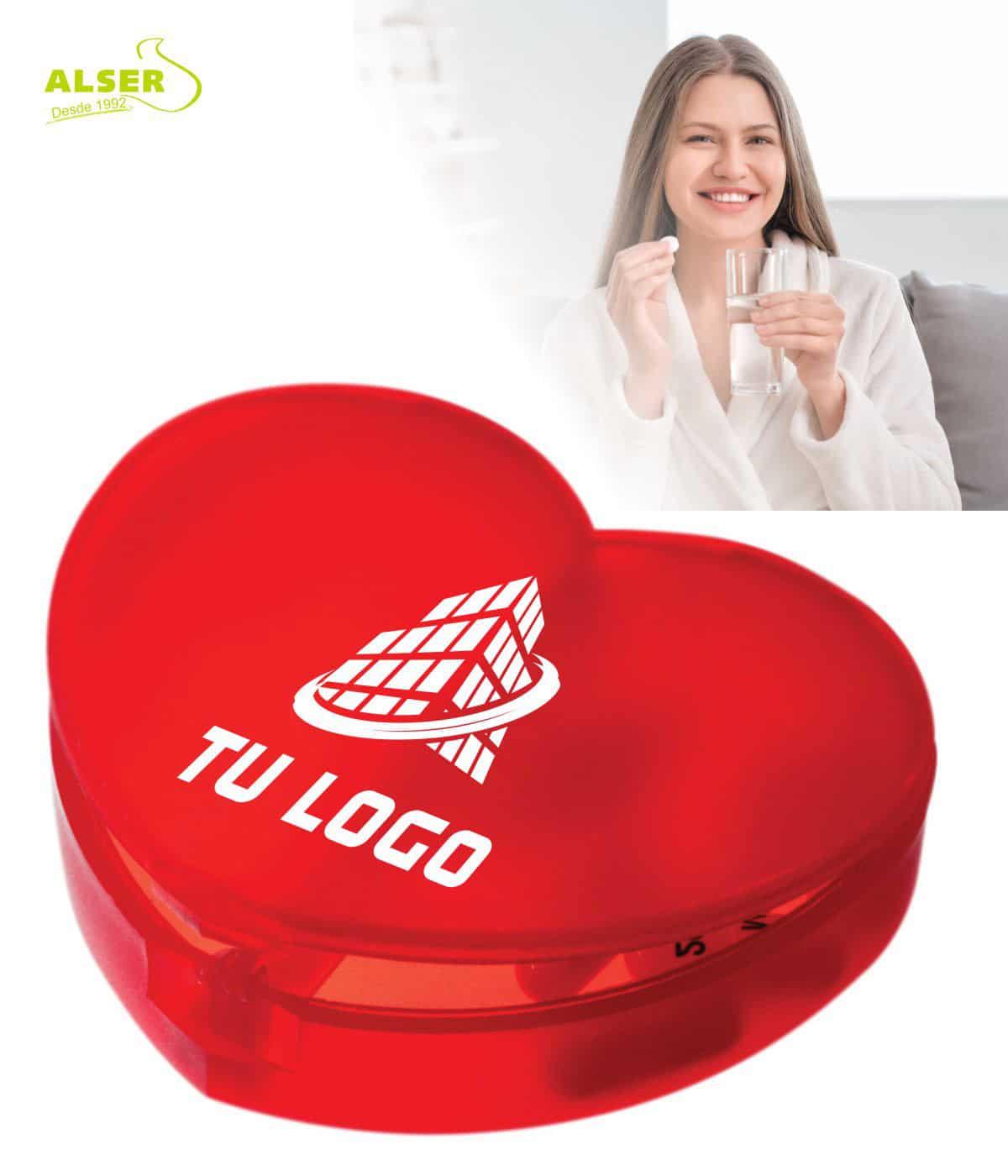 Pastillero corazón personalizado con logo
