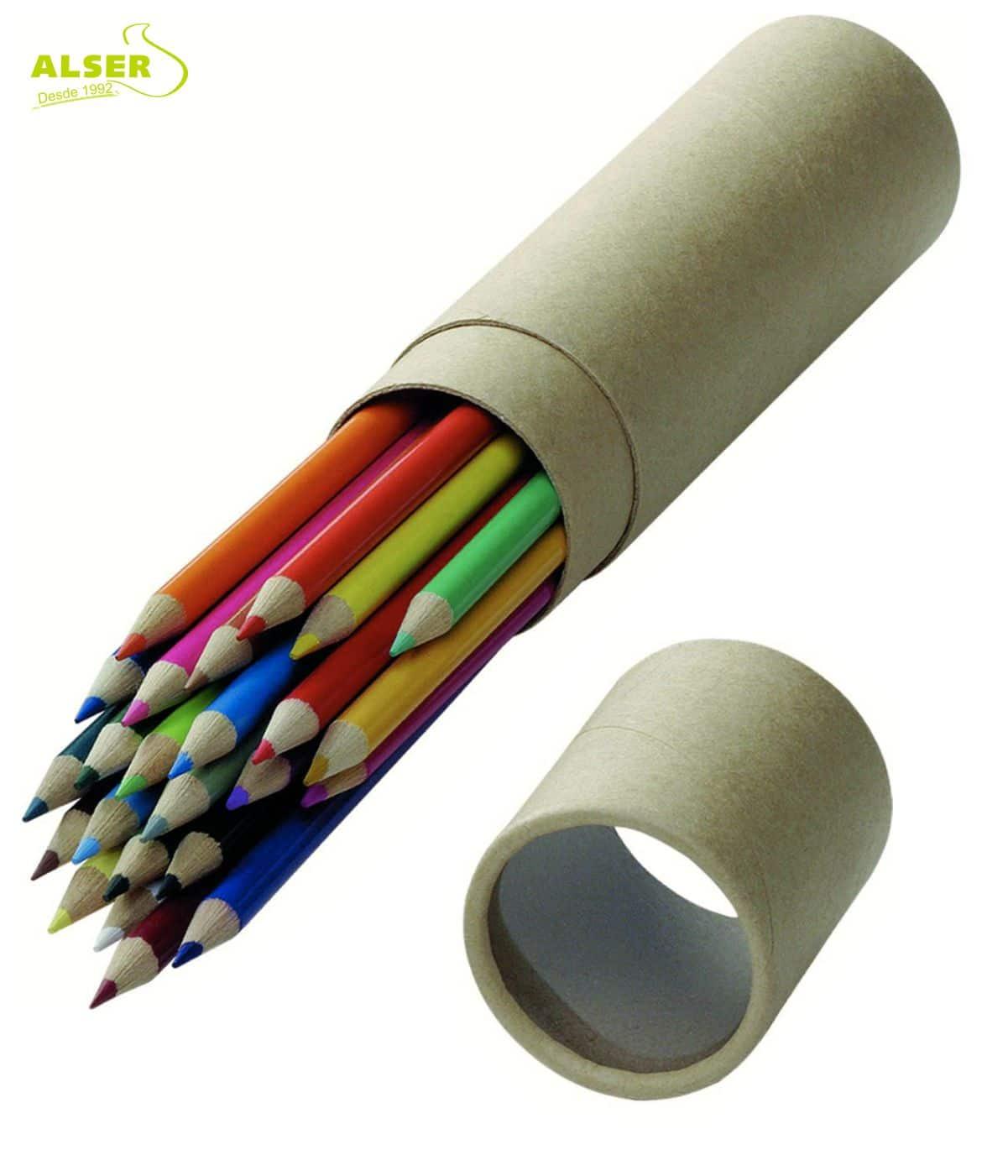 Estuche redondo de lápices de colores