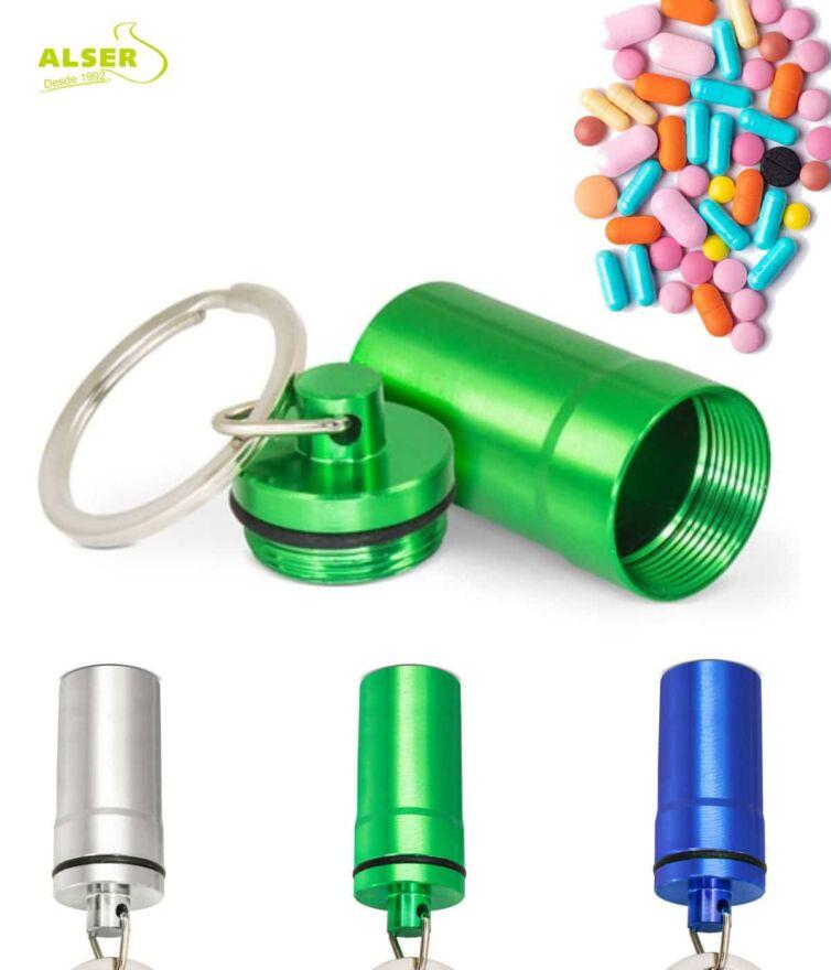 Llavero pastillero aluminio