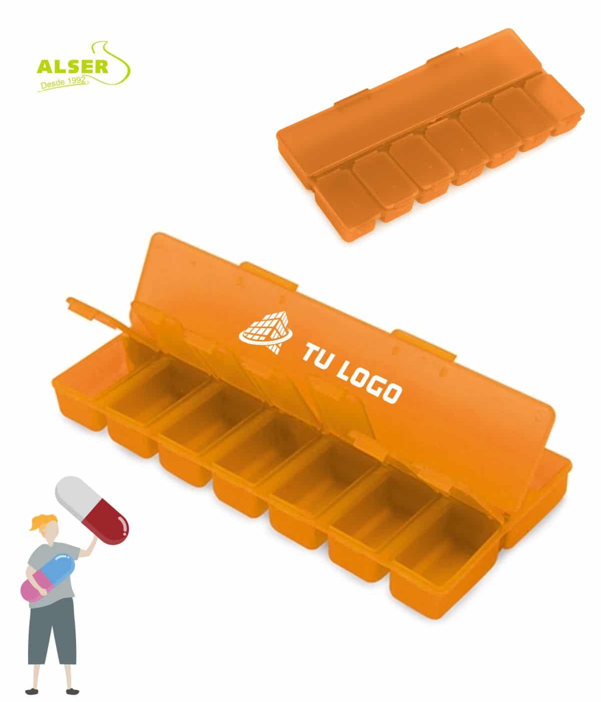 Pastillero semanal 8 compartimentos Naranja