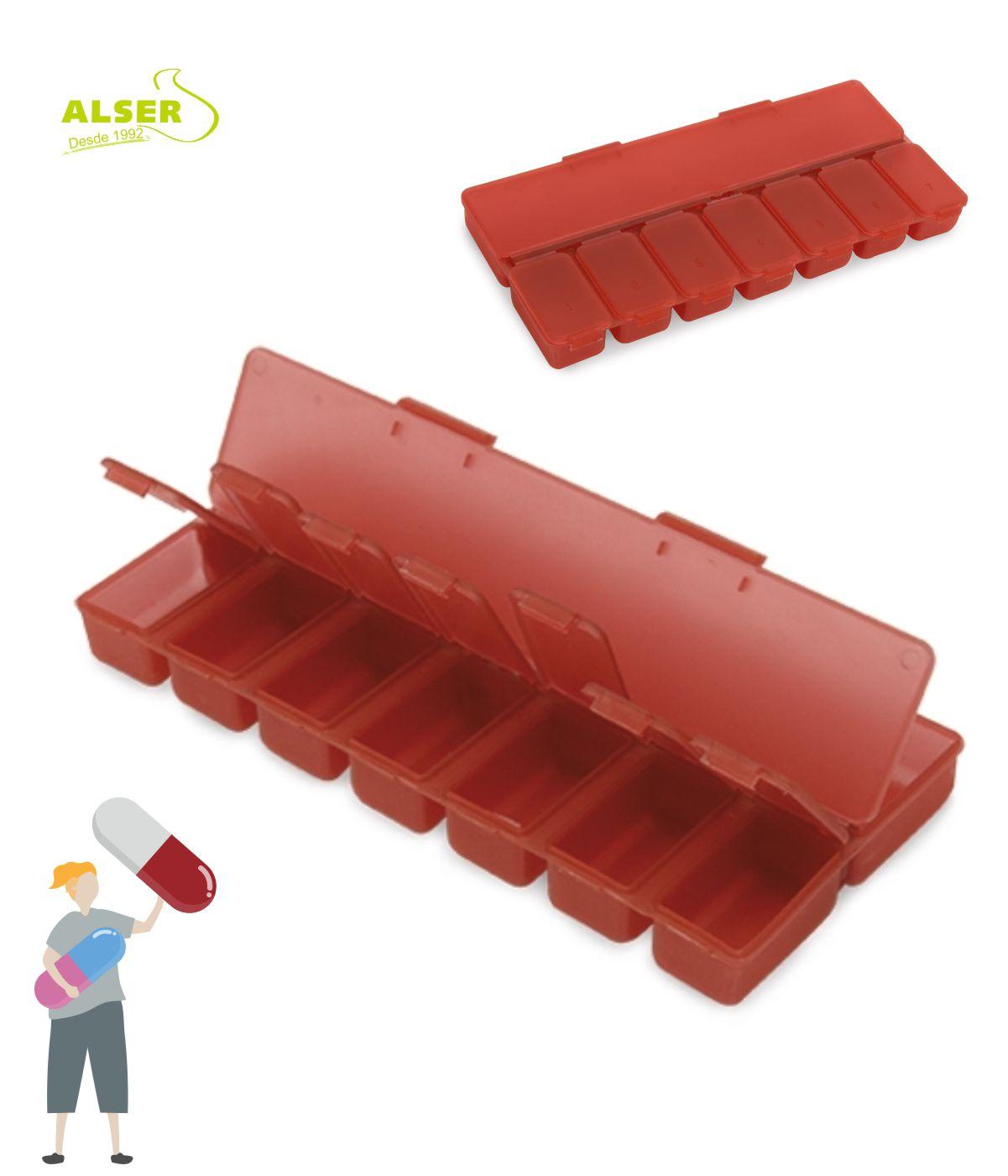 Pastillero semanal 8 compartimentos Rojo