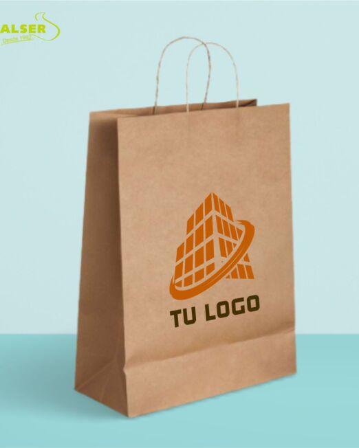 Bolsa de papel kraft mediana con logo